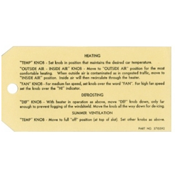 55-56 Heater Instruction tag