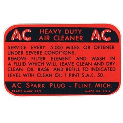 55-57 4-Barrel, V-8 Air Cleaner Decal